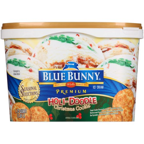 Blue Bunny Premium Holi Doodle Christmas Cookie Ice Cream 56 Fl Oz