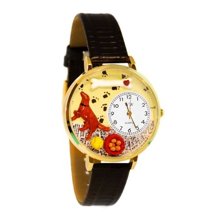 Whimsical Irish Setter Black Skin Leather And Goldtone Watch
