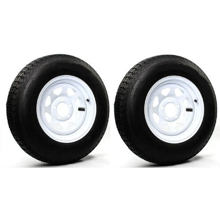 - 2-Pack Trailer Tire On Rim ST205/75R15 LRC 5 Hole Steel White Spoke