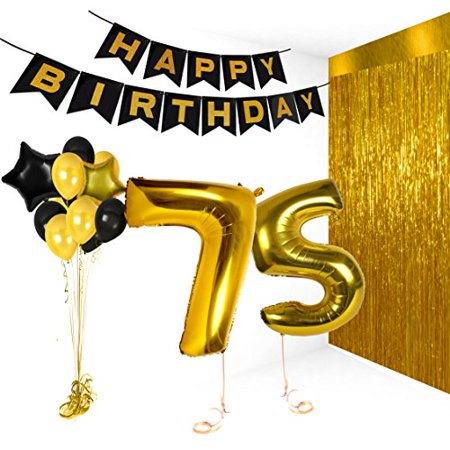 Happy Birthday Decorations Bday Banner Party Kit Pack B-day Celebration Supplies with Gold and Black Stars Balloons + Extra Large Golden Fringe Curtain for Men or Women (75)