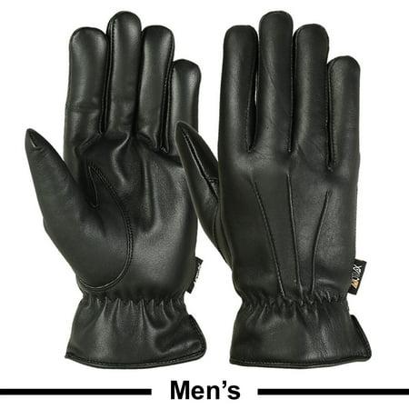 Mens Warm Winter Gloves Dress Gloves Thermal Lining Geniune Leather BLACK, Medium