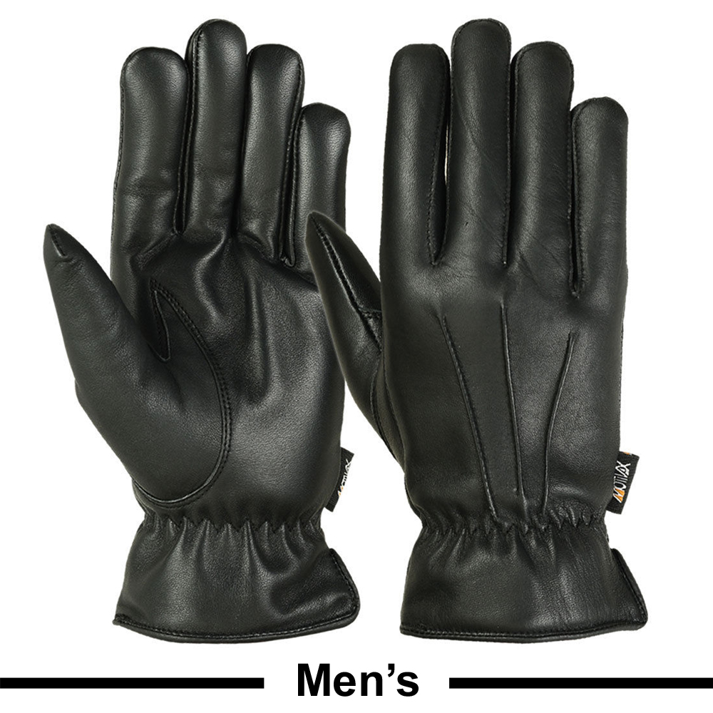 Mens Warm Winter Gloves Dress Gloves Thermal Lining Geniune Leather BLACK, XX-Large
