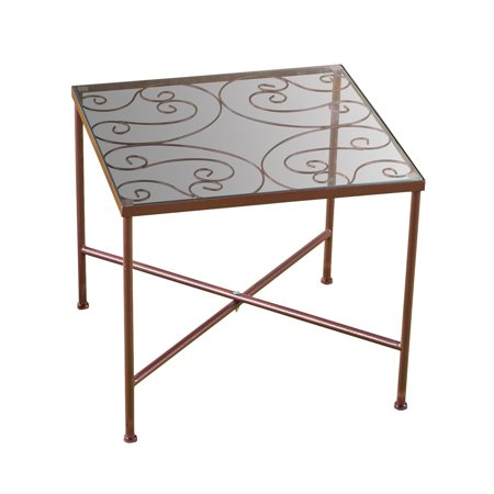 Glass Top Metal Scroll Garden Patio Accent Side (Scroll Side Table)