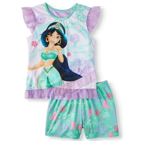 Girls' Jasmine 2 Piece Pajama Sleep Set (Little Girl & Big Girl) - Princess Jasmine Inspired Outfit