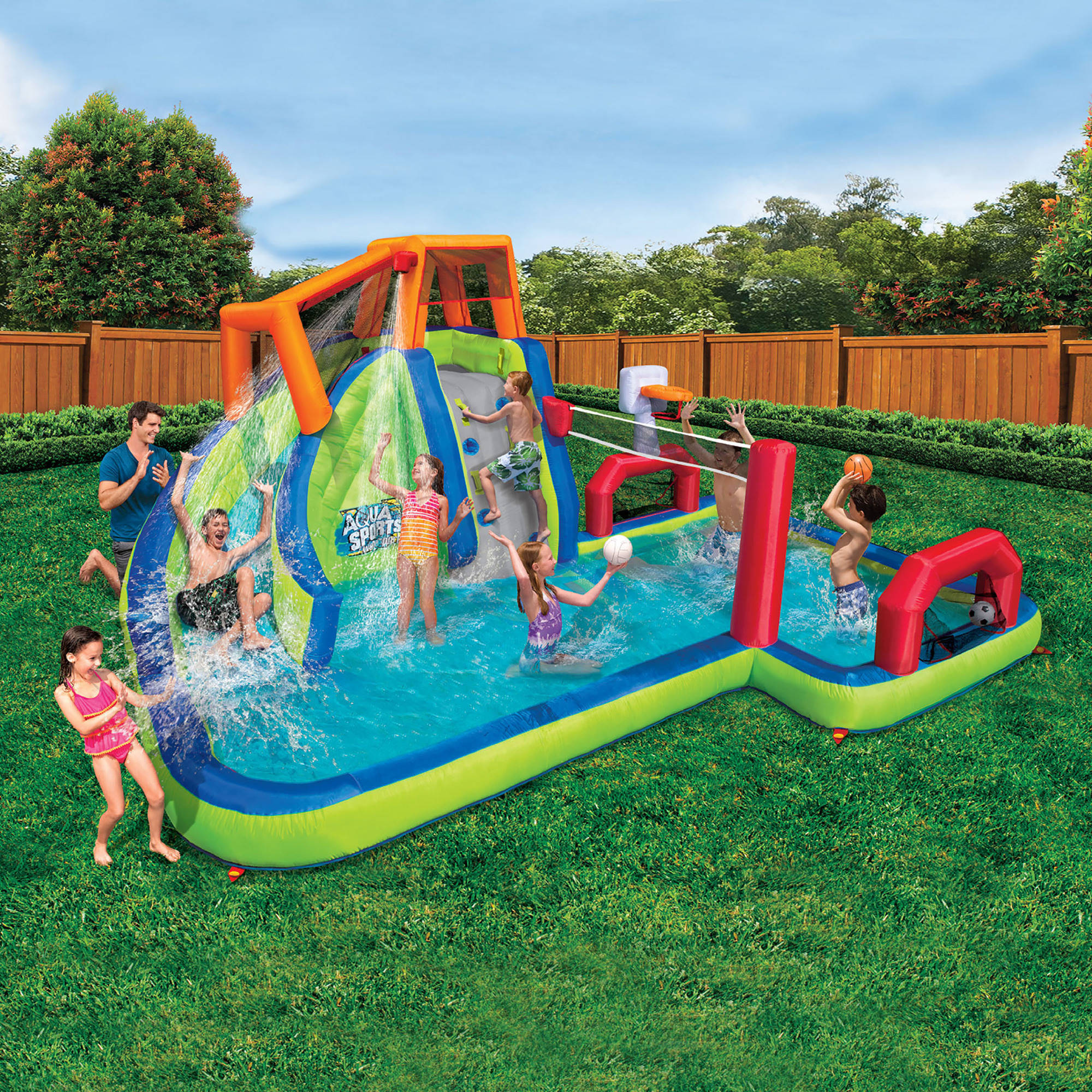 banzai aqua sports water park inflatable water slide volleyball