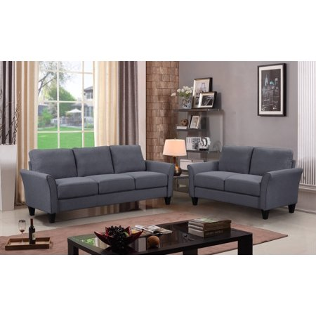 Clearance! 2 Piece Sectional Couch Set with 3 Seat Sofa, Loveseat and Armchair, Dark Grey Sectional Sofas Set with Removable Cushions, Living Room Furniture Sofa Set for 6 People, Dark Grey, A71