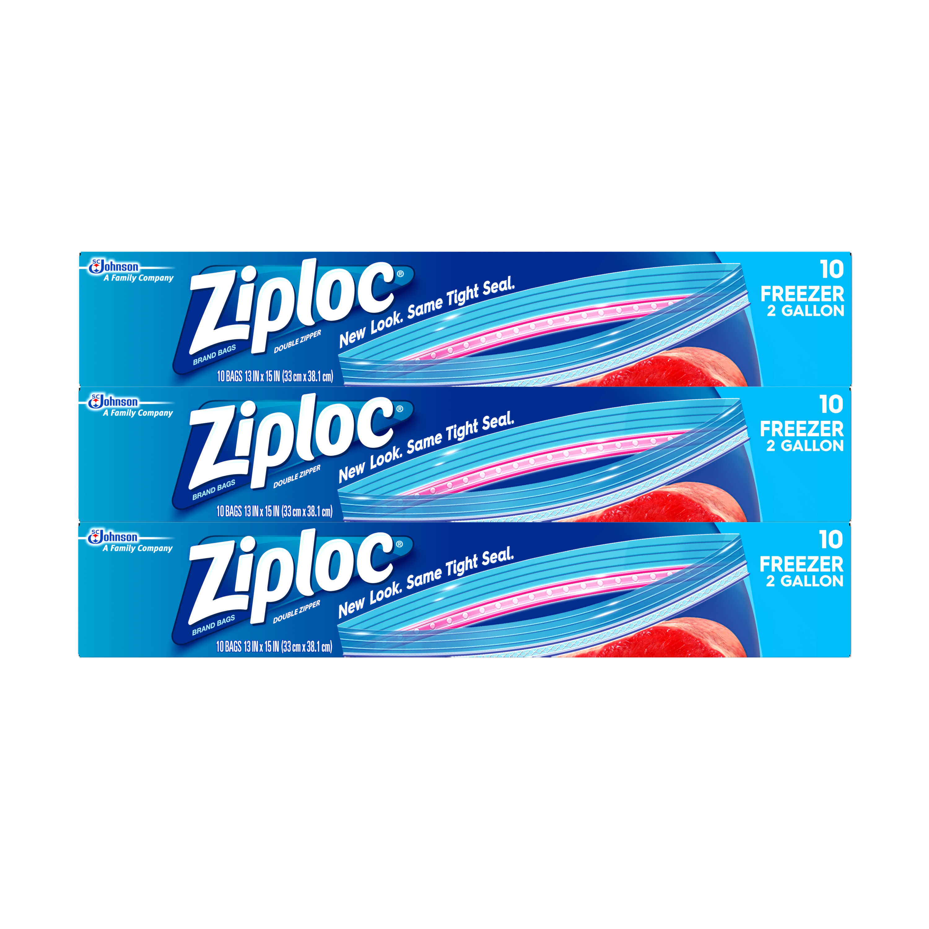 Ziploc Freezer Bags, Two Gallon, 3 Pack, 10 count