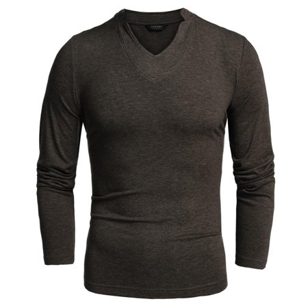 5b0d7be9e85 Coofandy Men Long Sleeve V-Neck Pure Color Cotton Stretch Loose Casual  Basic Tops T-shirt STDTE - Walmart.com