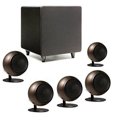 orb audio: mod1 mini 5.1 home theater speaker system - surround sound system - includes 5 orbs and 9 subwoofer - great for movies & music, outperforming larger subwoofers - handmade in the