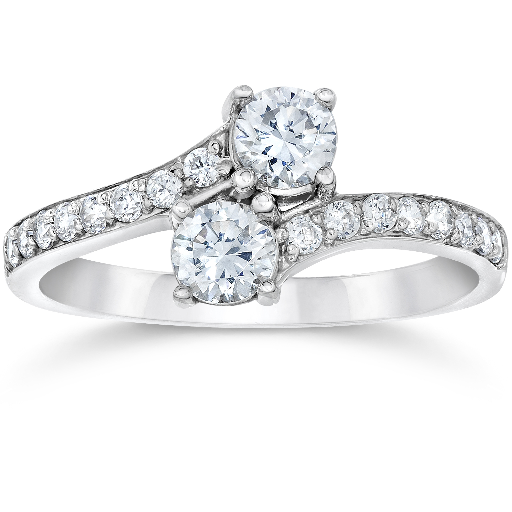 1.50Ct Forever Us Two Stone Two Diamond Engagement Solitaire Ring 14K White Gold by Pompeii3