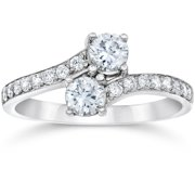 1 carat forever us round solitaire diamond woven two stone ring 10k white gold - Wedding Rings Walmart