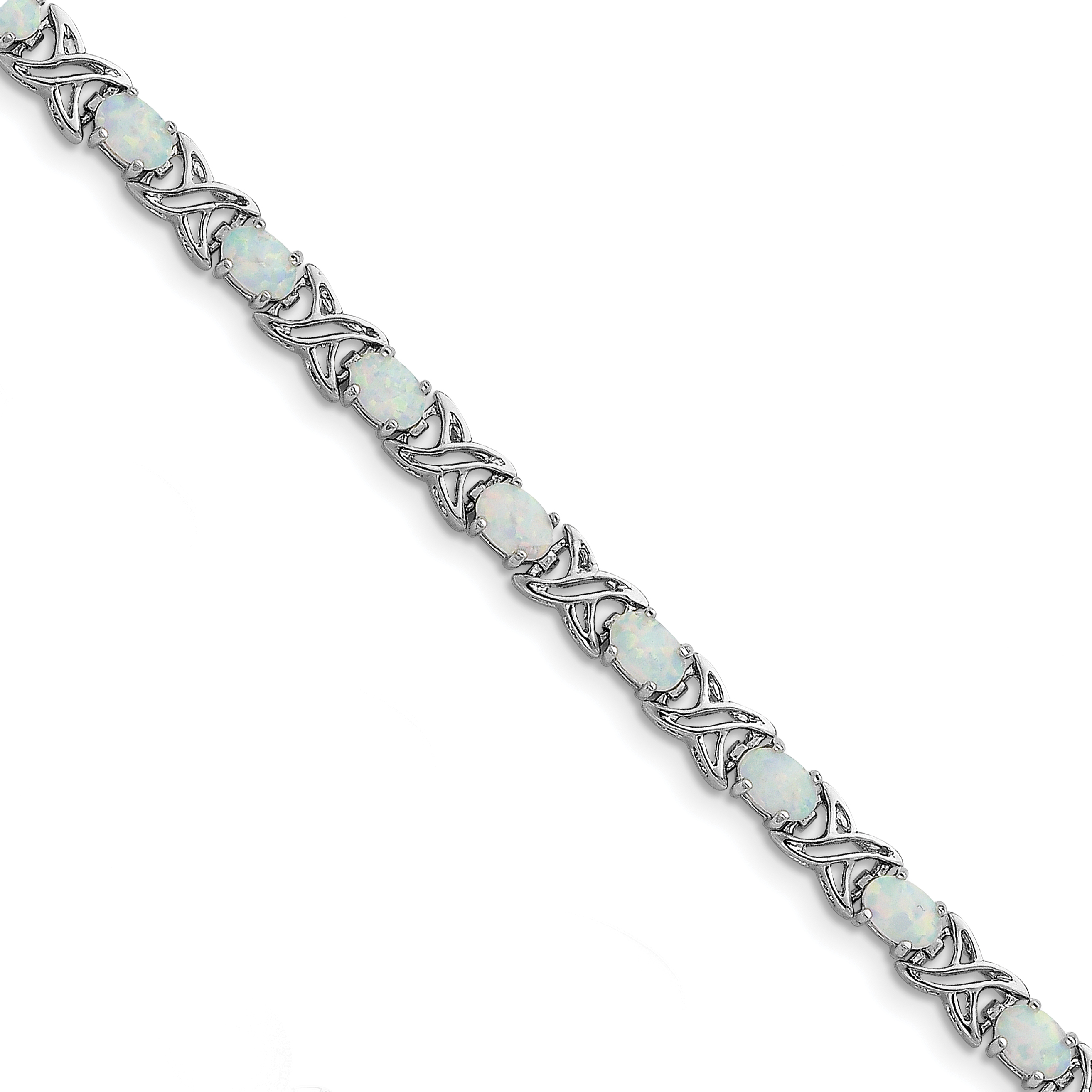 Roy Rose Jewelry Sterling Silver Created Opal XO Bracelet ~ Length 7.5'' inches by