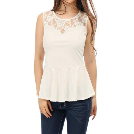 148db484da817 Allegra K Women Semi-Sheer Lace-Paneled Yoke Sleeveless Peplum Tops White  XL ...