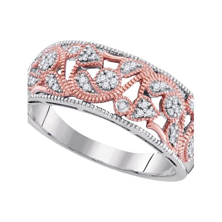 10kt Two-tone Gold Womens Round Diamond Filigree Band Ring 1/10 Cttw