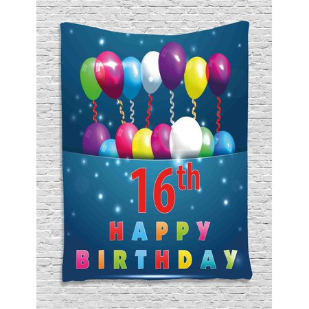 16th Birthday Decorations Tapestry Sweet Sixteen Teenage Party Balloons Kitsch Celebration Image Wall Hanging