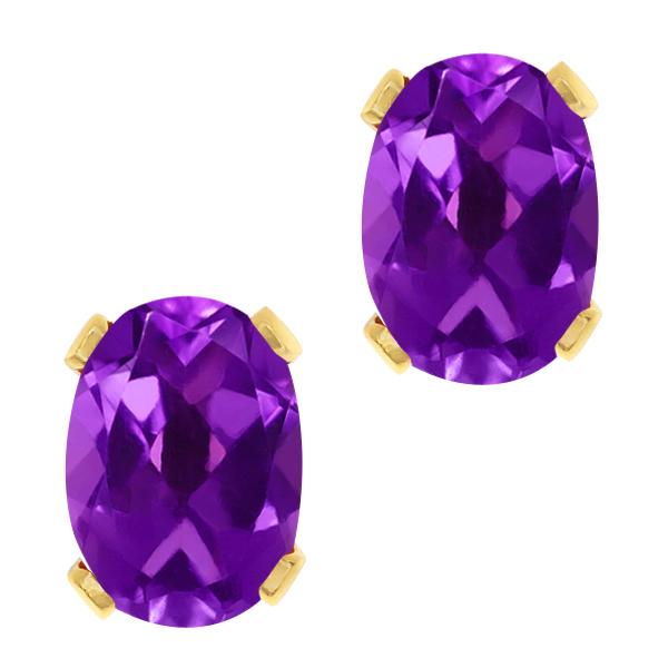 1.50 Ct Oval Shape Purple Amethyst Yellow Gold Plated Brass Stud Earrings