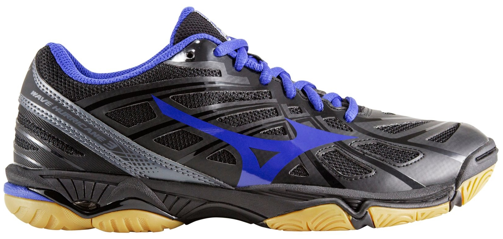 Mizuno Women's Wave Hurricane 3 Volleyball Shoes (Black Royal, 7.0) by Mizuno