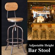 Vintage Rustic Bar Stool Retro Bar Stool Industrial Dining Swivel Chair Kitchen 100CM + Back