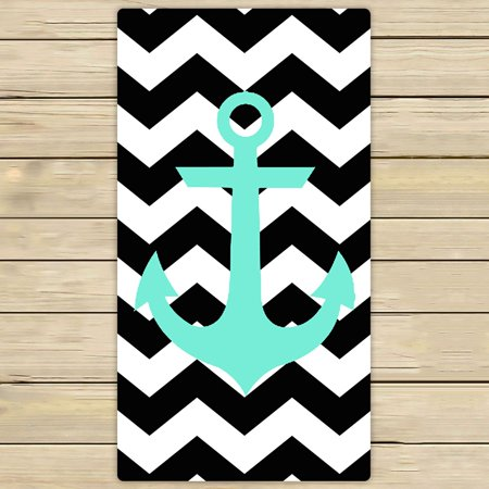 ZKGK Anchor On Zig Zag Chevron Hand Towel Bath Towels Beach Towel For Home Outdoor Travel Use Size 30x56 Inches ()