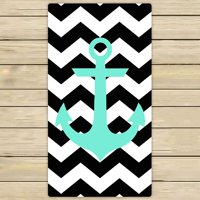 ZKGK Anchor On Zig Zag Chevron Hand Towel Bath Towels Beach Towel For Home Outdoor Travel Use Size 30x56 Inches