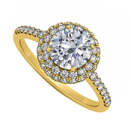 UBNR50534Y14CZ Double Halo CZ Engagement Ring in 14K Yellow Gold Best Price Range - 0.75