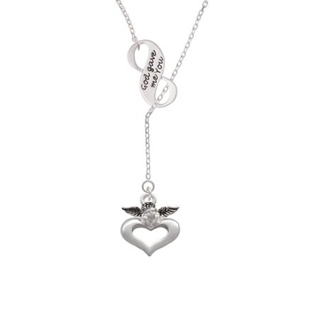 Guardian Angel Over Heart God Gave Me You Infinity Lariat Necklace