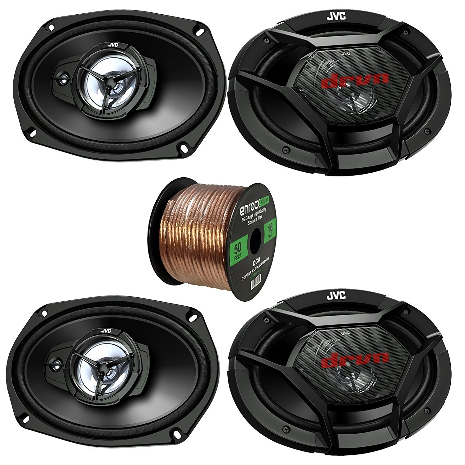 "Car Speaker Package Of 2x JVC CS-DR6930 6""x9"" Inch 1000 Watt 3-Way Vehicle Stereo Coaxial Speakers Bundle Combo With Enrock 50 Foot 16 Gauge Speaker Wire"