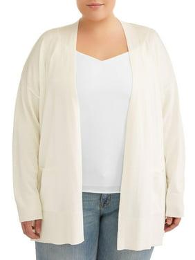 Terra & Sky Women's Plus Size 2-Pocket Open Cardigan