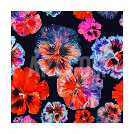 Watercolor Floral Pattern. Colorul Pansies Isolated on Dark Background. Red Blue Flowers Print Wall Art By Firsart - Red Panda Kittens For Sale