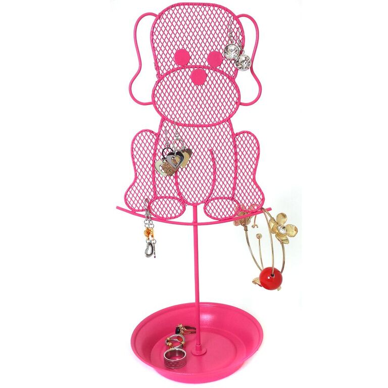 Cute Dog Jewelry Organizer Pink Earring Jewelry Stand Dresser Top Jewelry Organizer for Teens Earring Holder