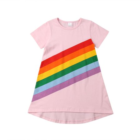 965d48235f Emmababy - Toddler Kids Baby Girl Cotton Short Sleeve Rainbow Striped Dress  T-Shirt Casual Outfit - Walmart.com
