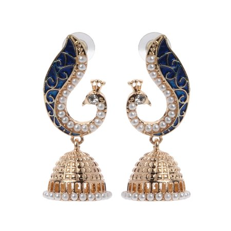 Elegant Indian Ethnic Bollywood Style Kundan Peacock Jhumka Drop Earrings - Traditional Jewelry (Kundan Jewelry)