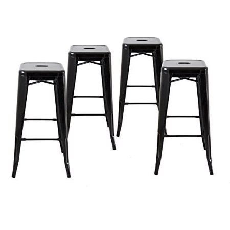 Buschman Set of Four Black 30 Inches Counter High Tolix-Style Metal Bar Stools, Indoor/Outdoor,