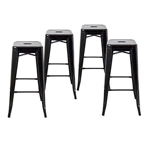 Buschman Set of Four Black 30 Inches Counter High Tolix-Style Metal Bar Stools, Indoor/Outdoor, Stackable