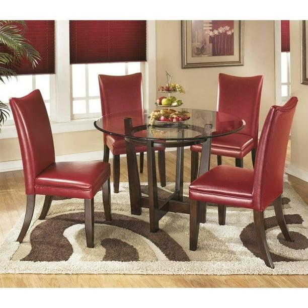 Ashley Furniture Charrell 5 Piece Glass Round Dining Set In Red Walmart Com Walmart Com