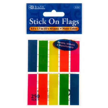 New 340846  Stick On Flags Neon Clr 5154 Bazic (24-Pack) School Supplies Cheap Wholesale Discount Bulk Stationery School Supplies Bud Vase](Neon Sticks Wholesale)