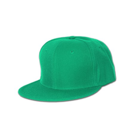 Plain Fitted Flat Bill Hat, Solid and Neon Colors Available, Kelly Green 7 5/8](Neon Hats)