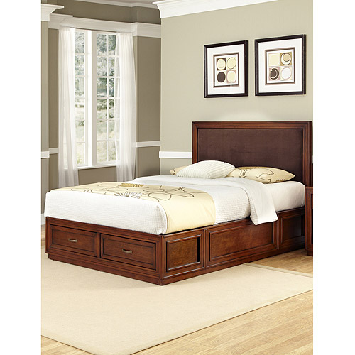 Home Styles Duet Platform King Panel Bed with Brown Microfiber Inset, Rustic Cherry