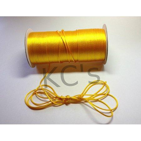 - 50 Yards - 2mm Light Gold Satin Rattail Cord Chinese/china Knot Rat Tail Jewelry Braid 100% Polyester