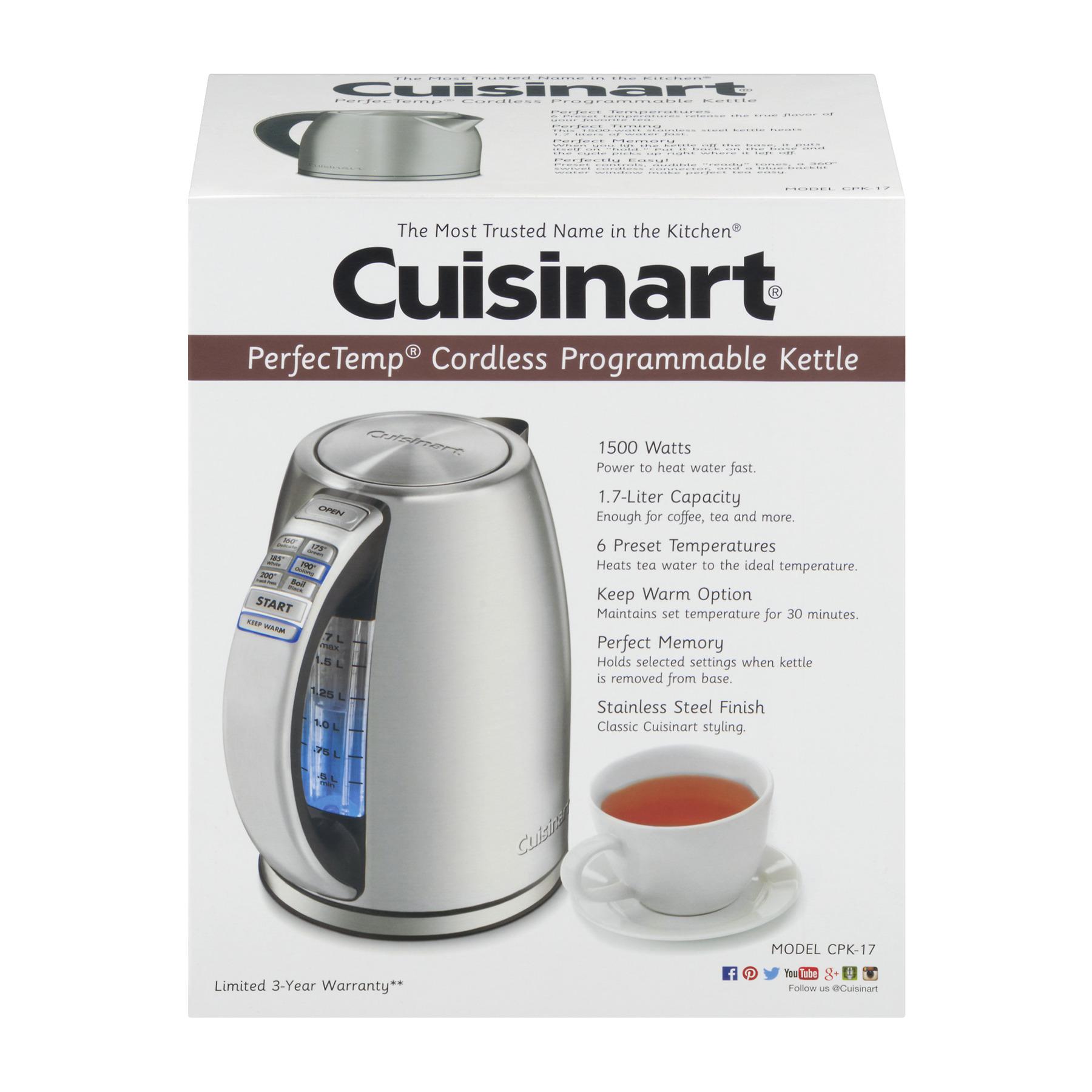 Cuisinart Perfec Temp Cordless Programmable Kettle, 1.0 CT
