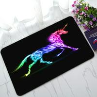 PHFZK Animal Doormat, Fire Unicorn Colorful Doormat Outdoors/Indoor Doormat Home Floor Mats Rugs Size 30x18 inches