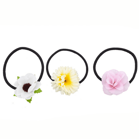 Flower Pony Holder (Lux Accessories Fabric Assorted Floral Flower Elastic Pony Tail Holders (3PCS) )