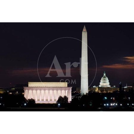Washington DC National Mall at Sunrise, including Lincoln Memorial, Monument and United States Capi Print Wall Art By