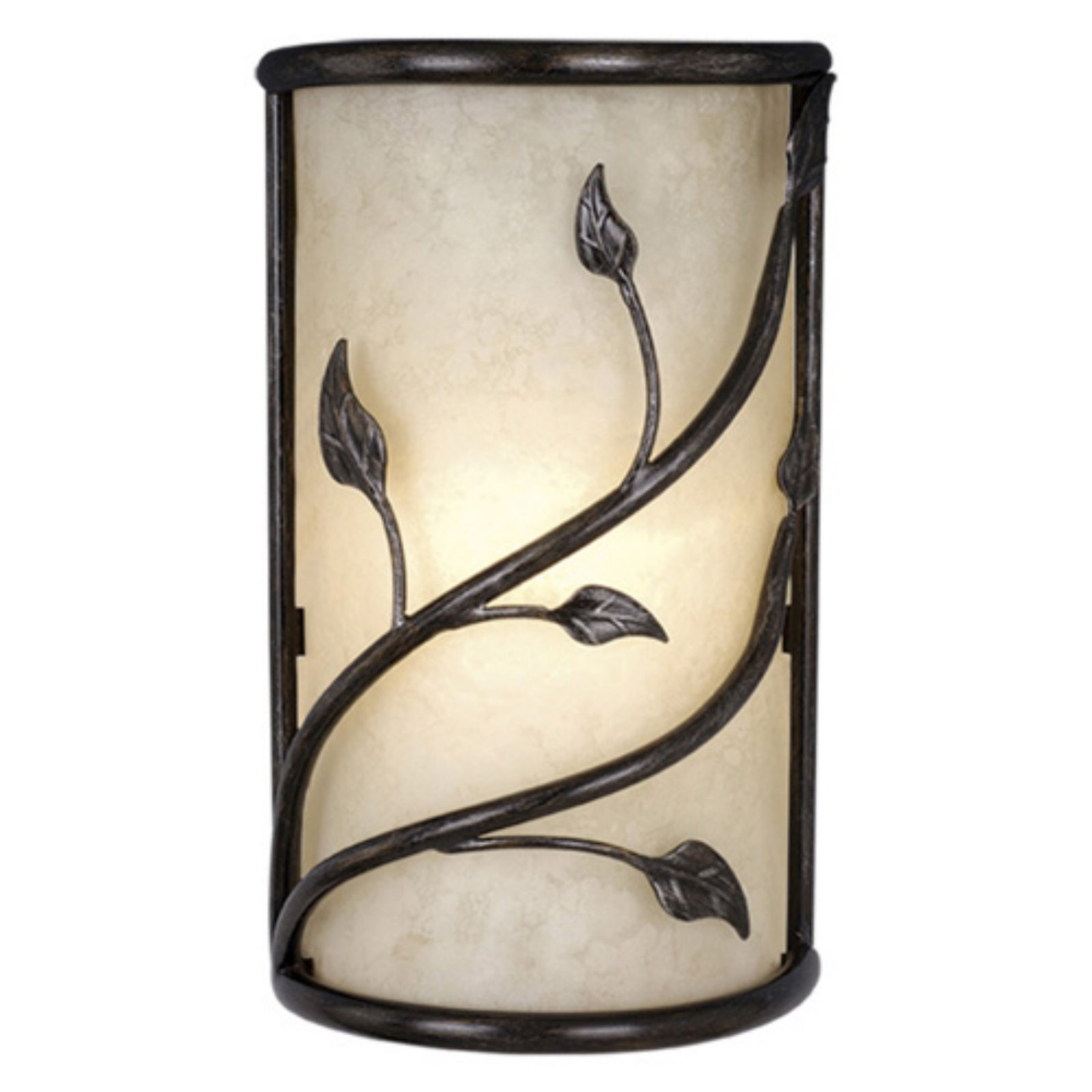 Vaxcel Vine Wall Sconce with Amber Flake Glass - 9.25W in. Oil Shale