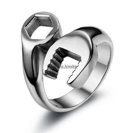 Fashion Cool Biker Mechanic Wrench Stainless Steel Mens Ring Punk Style Rings for men Size 8-13 anel
