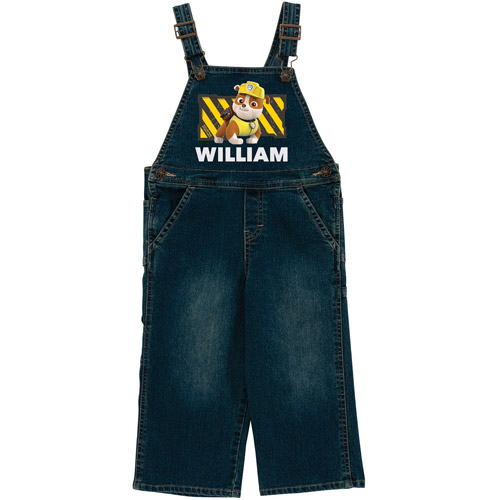 Personalized PAW Patrol Rubble Denim Toddler Boys' Overalls In Sizes: 3T, 4T and 5/6T