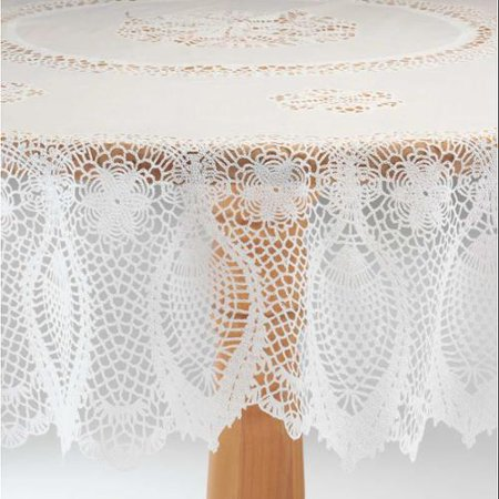 Miles Kimball White Vinyl Lace Tablecloth - 70