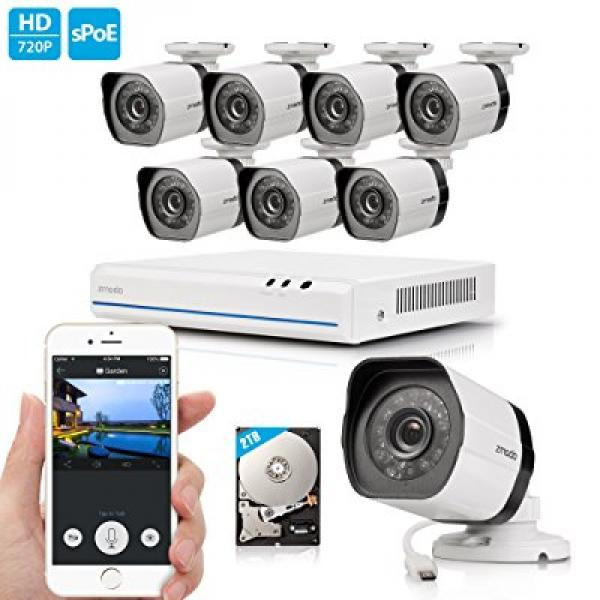 Cámaras De Vigilancia Zmodo 720p 8 Channel NVR System 8 x 1.0 Megapixel HD IP Home Video Security Cameras 2TB HDD + Zmodo en VeoyCompro.net