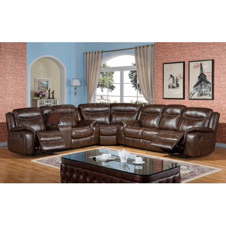 McFerran SF3739-S Brown Premium Leather Air Fabric Reclining Sectional Sofa