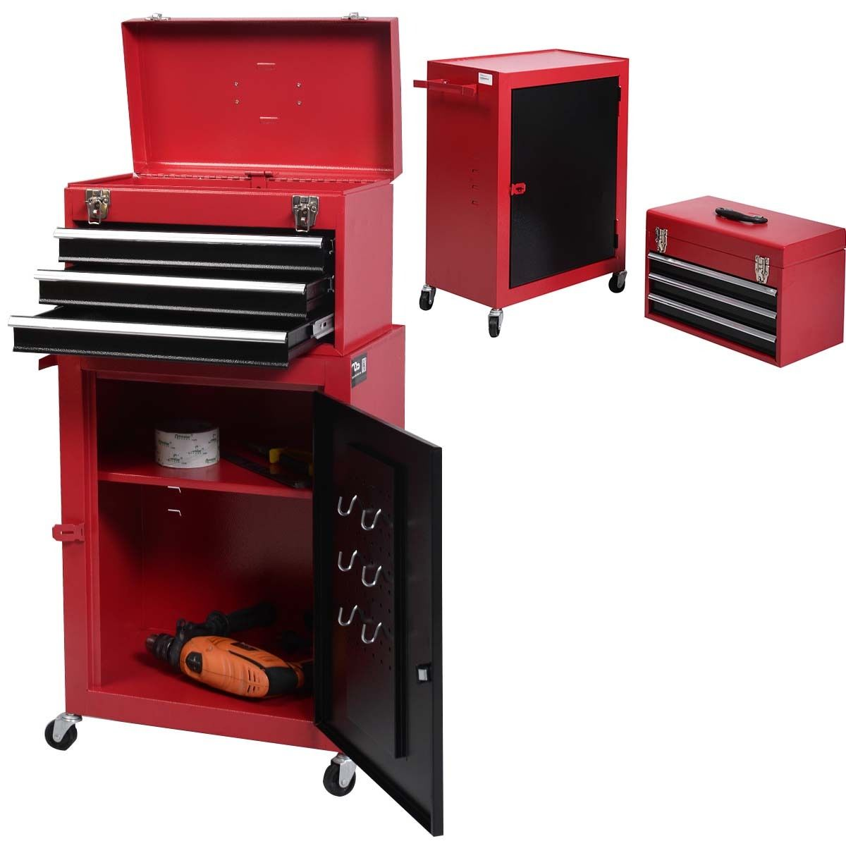 Costway 2pc Mini Tool Chest & Cabinet Storage Box Rolling Garage Toolbox Organizer by Costway